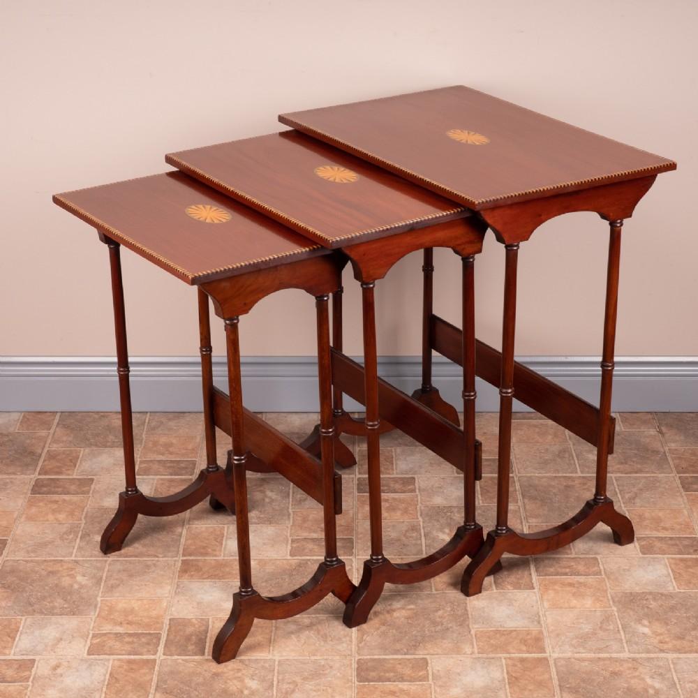 edwardian inlaid mahogany nest of three tables