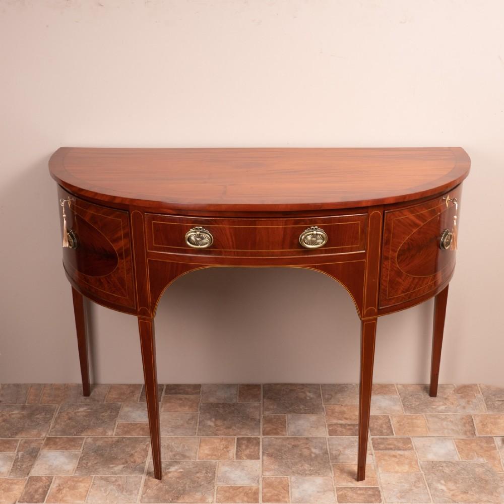 inlaid mahogany demi lune side cabinet