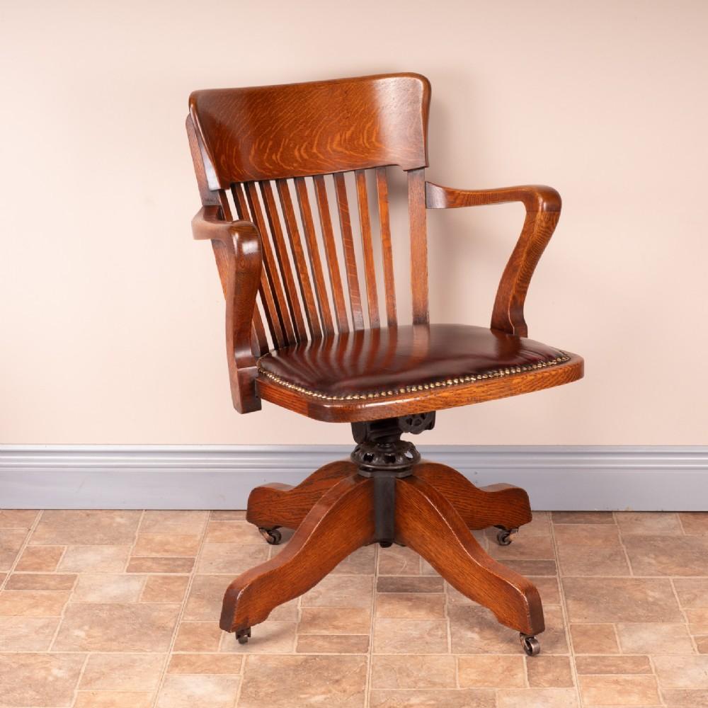 good quality oak revolving office desk chair