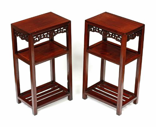 chinese pair of hardwood tables or urn stands