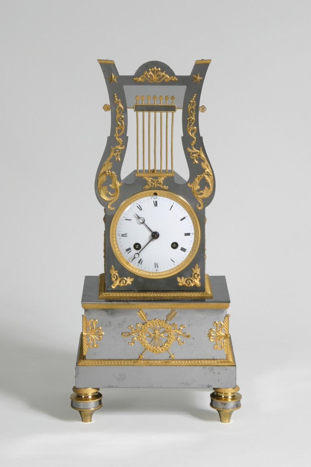 french ormolu mounted steel mantel clock