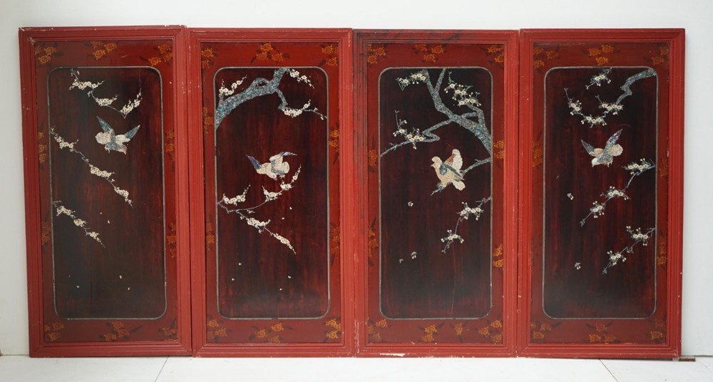 set of 4 chinese mother of pearl inlaid lacquer screen panels