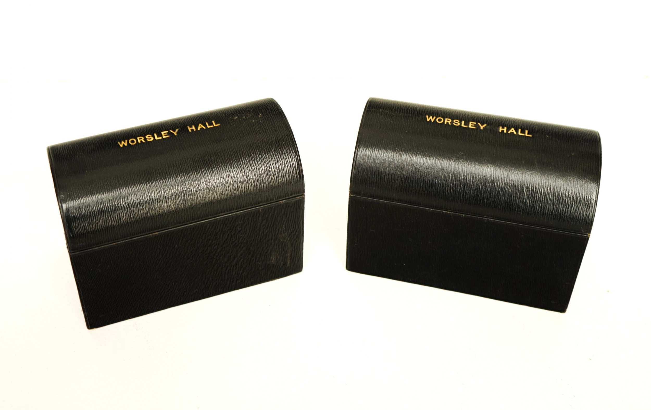 pair of leather 'country house' stationery boxes