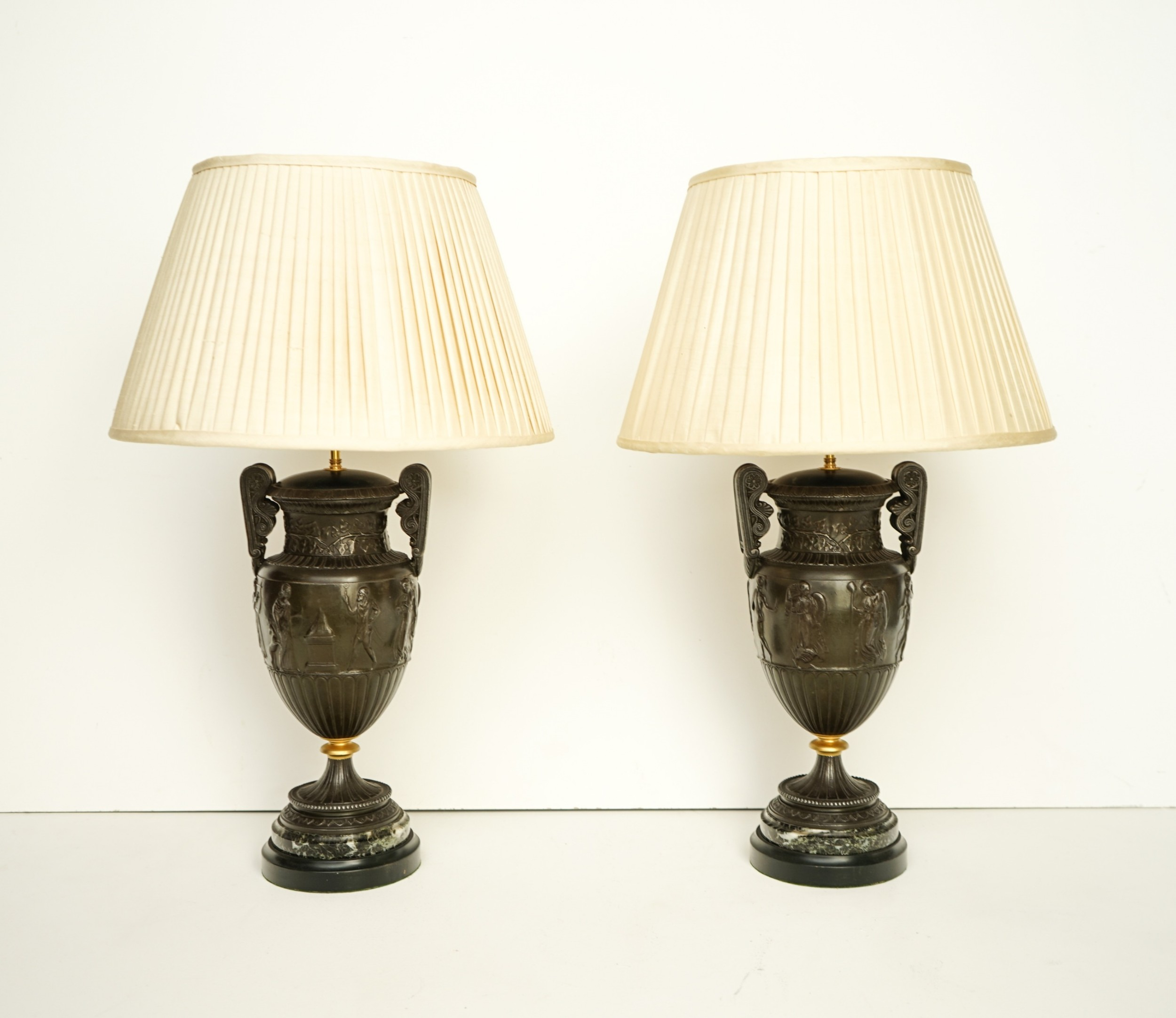 pair of c19th french classical spelter urn lamps