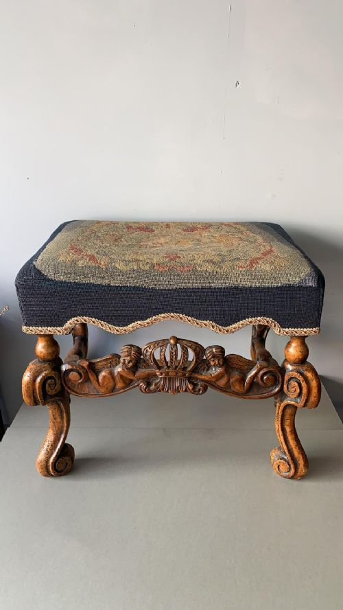 a wonderful 19thc walnut continental tapestry stool