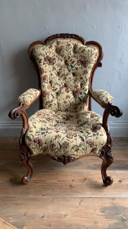 19thc carved rosewood armchair chair