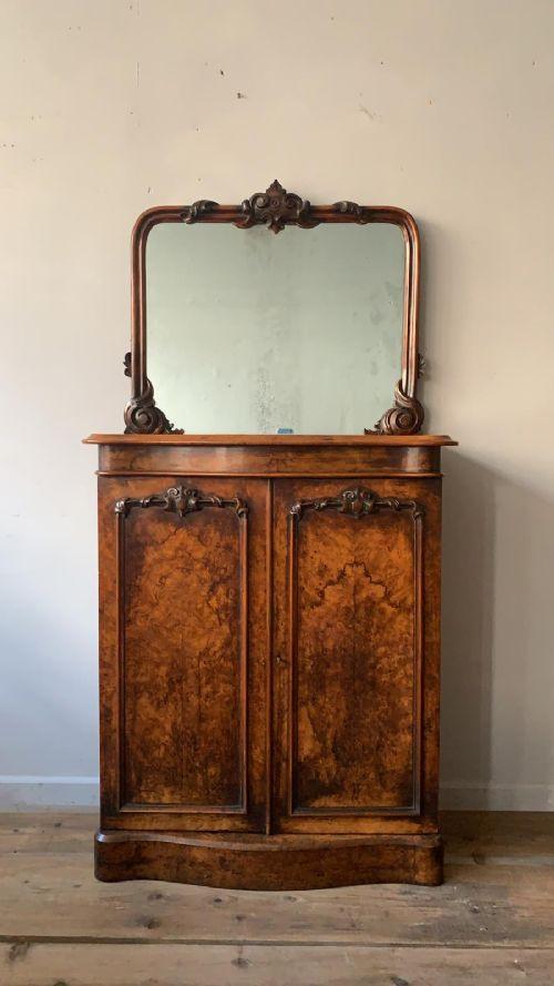 a very pretty 19thc burr walnut mirror backed chiffonier