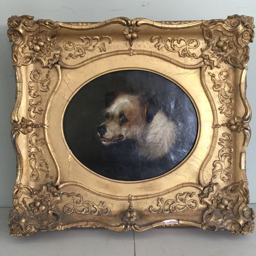 a charming 19thc painting by g armfield oil on canvas of a terrier