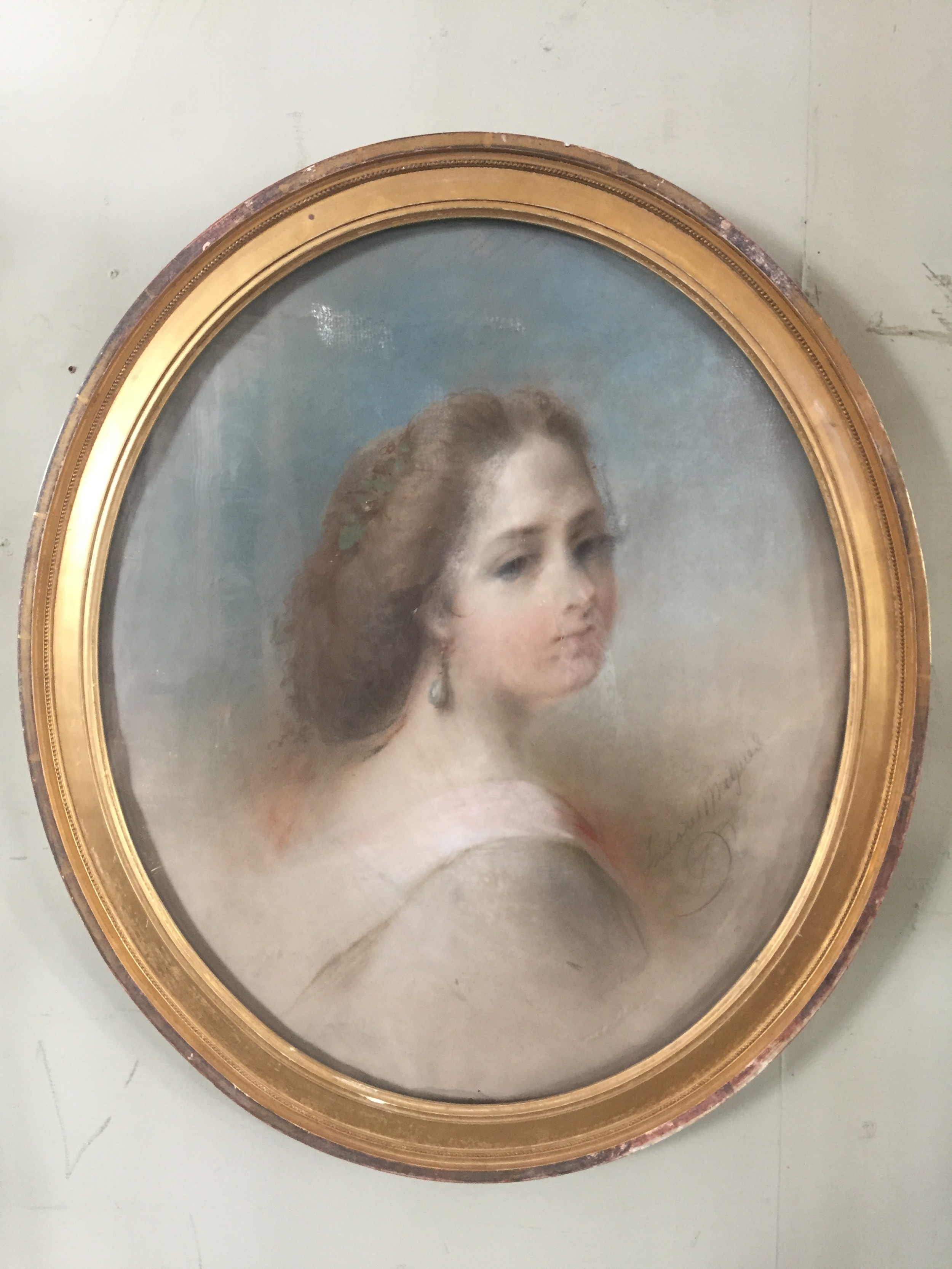 a wonderful large french pastel portrait of a lady in gilded oval frame