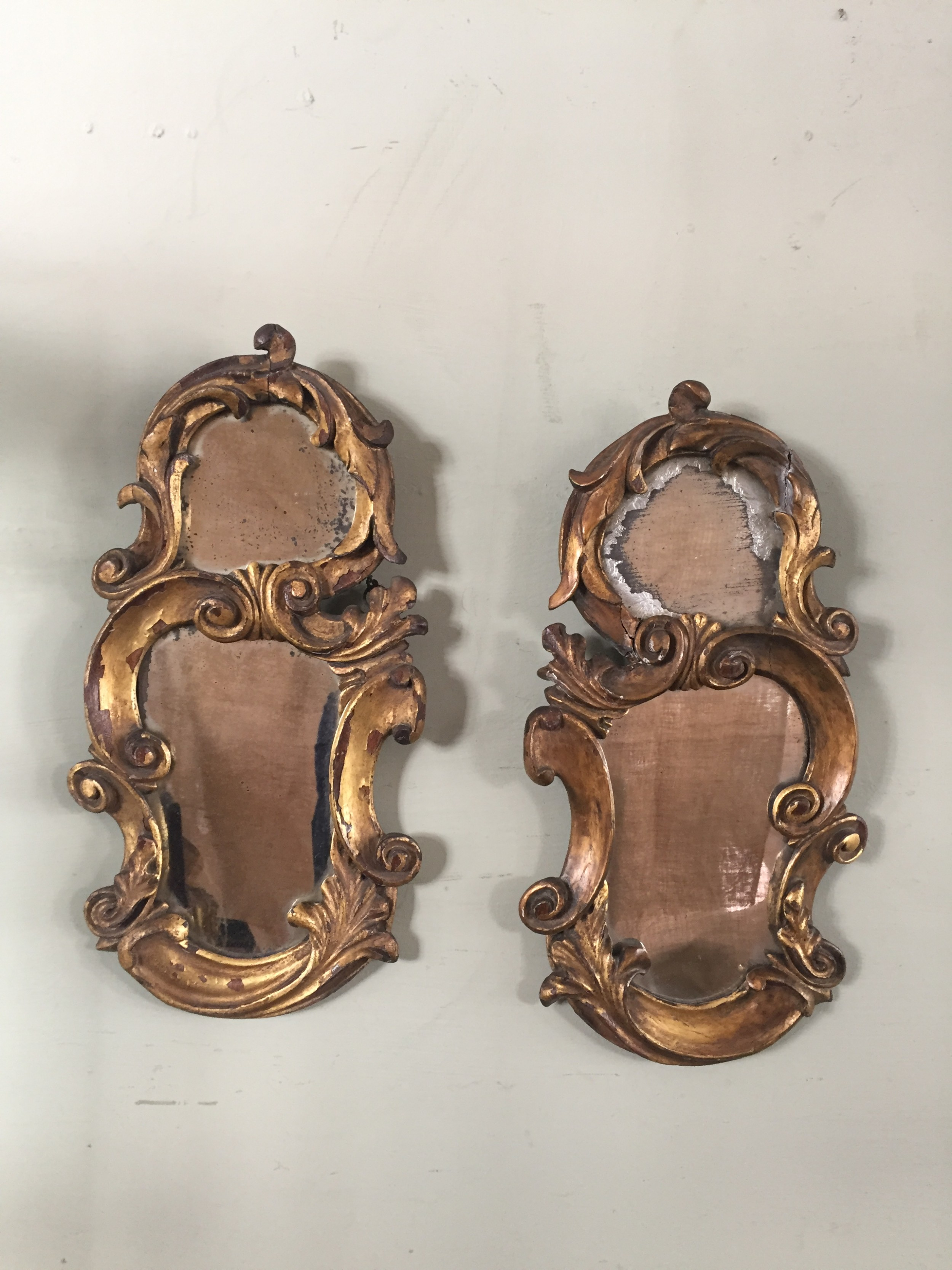 a very attractive pair of 18thc florentine carved and gilded wood mirrors