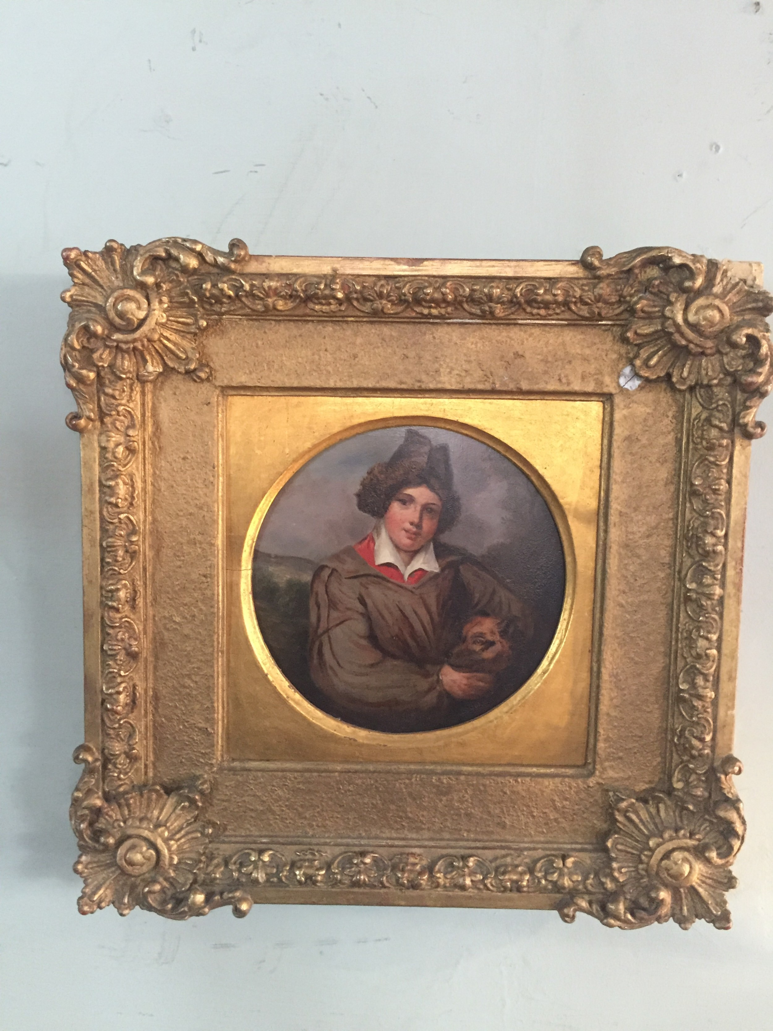 a charming 19thc painting of a young boy