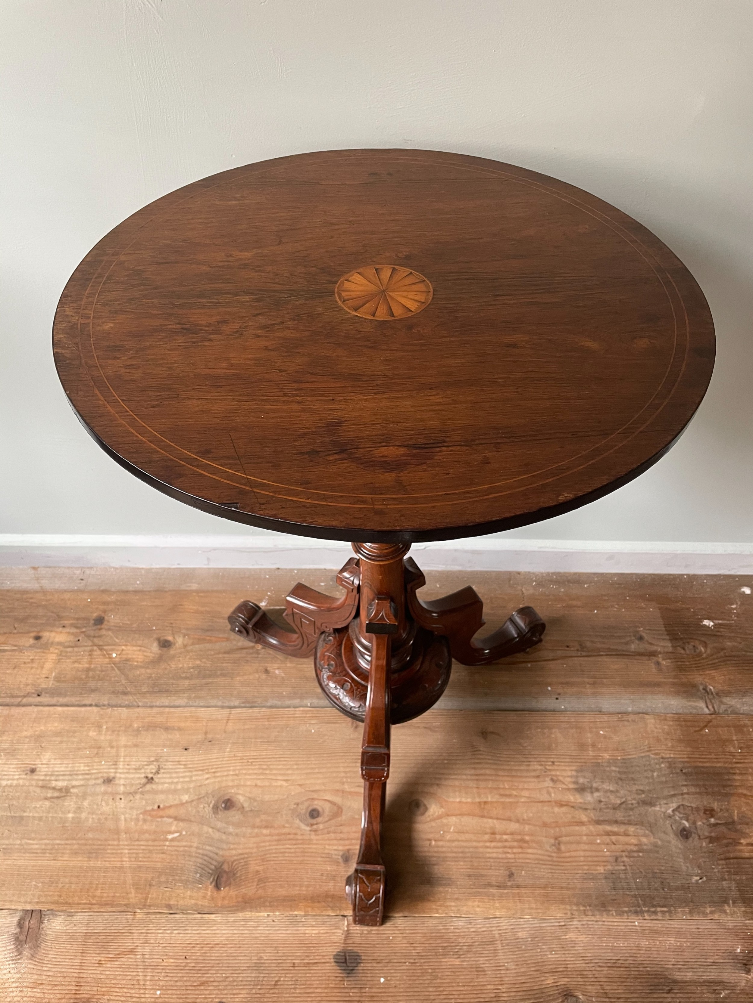 a 19thc rosewood lamp or wine table
