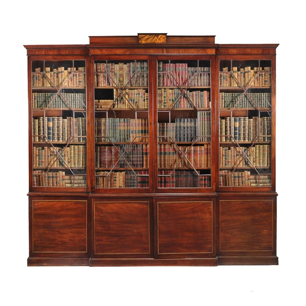 a very fine 18c george iii period mahogany breakfront library bookcase