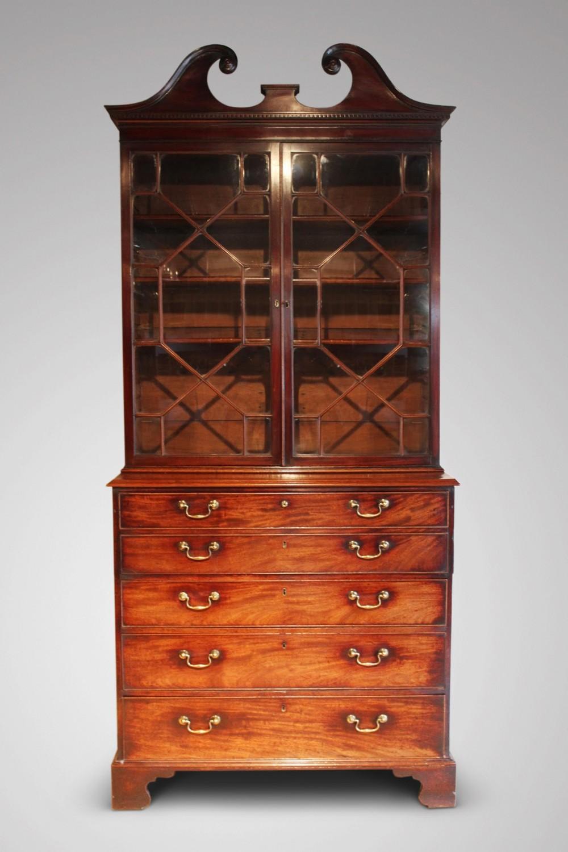 a fine 18c george iii period mahogany secretaire bookcase