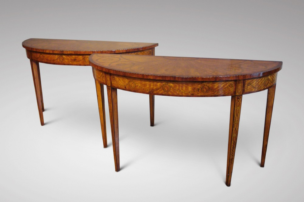 pair of edwardian marquetry side tables