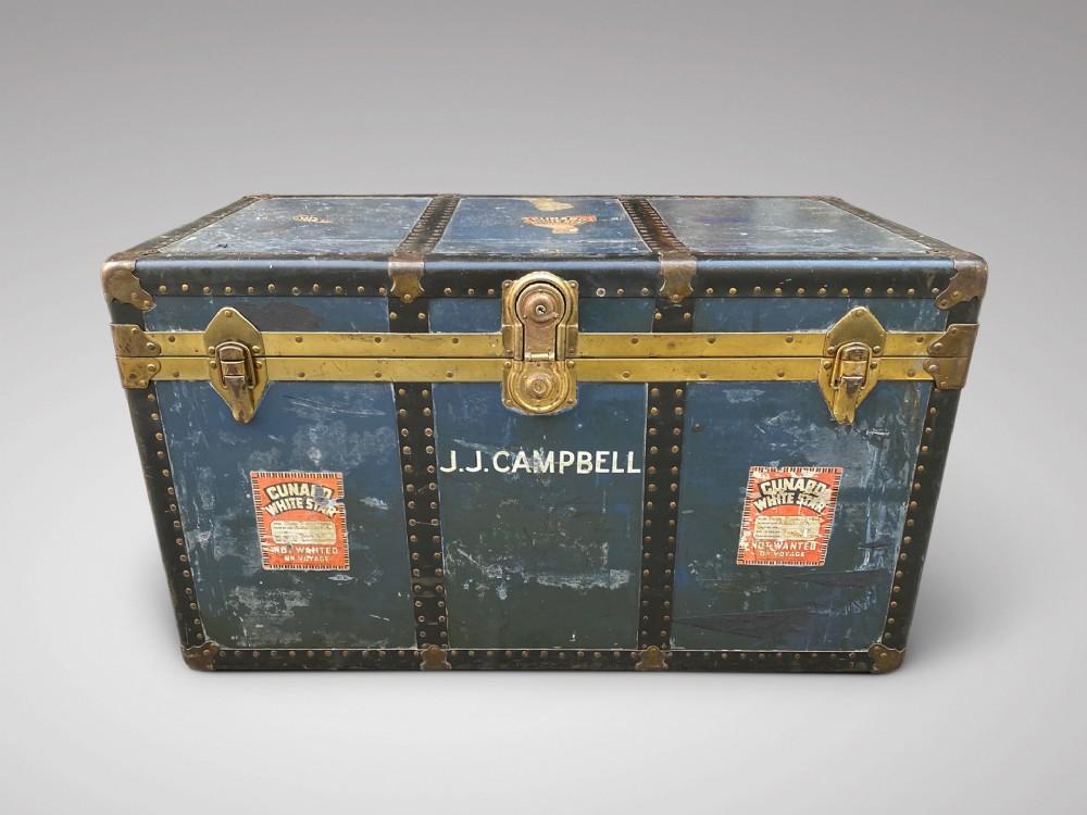 20c brass metal bound travelling trunk