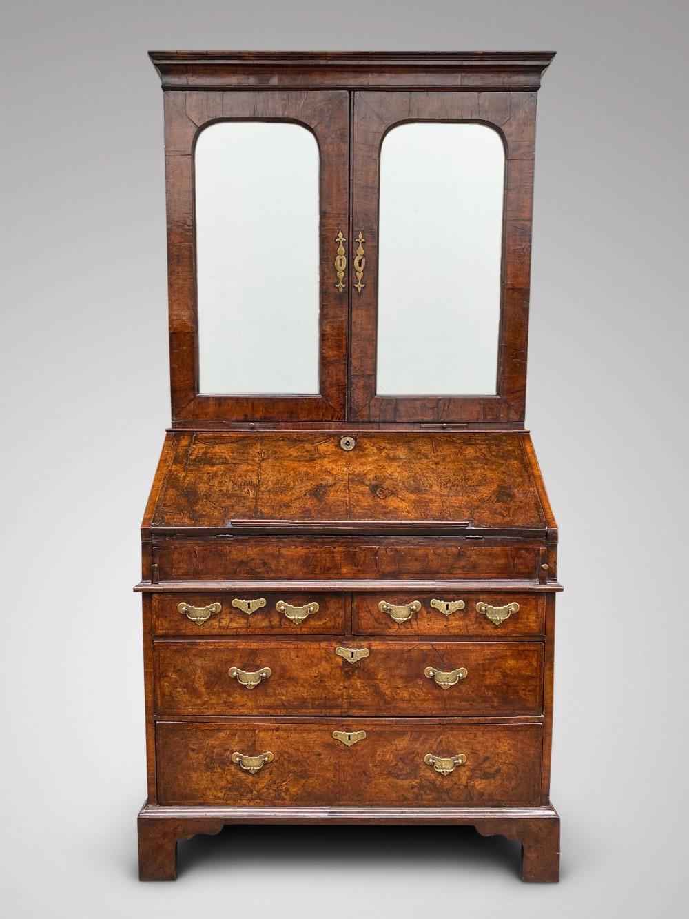18c george i period walnut bureau bookcase