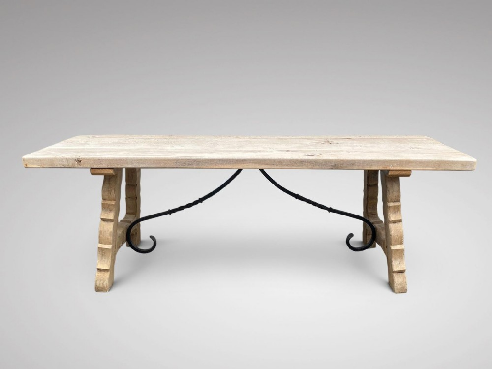 19c large bleached oak spanish dining table