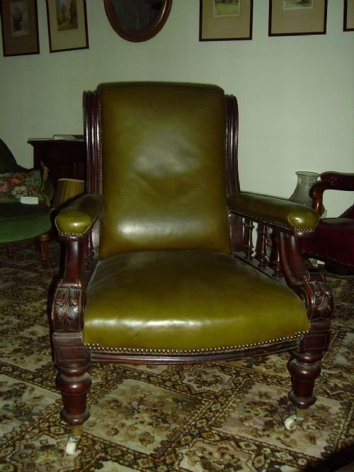 victorian gentleman's mahogany library chair - Victorian Gentleman's Mahogany Library Chair 40524