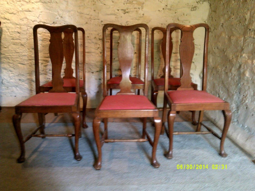 set of six early 20th century oak dining chairs in the queen anne style - Set Of Six Early 20th Century Oak Dining Chairs In The Queen Anne