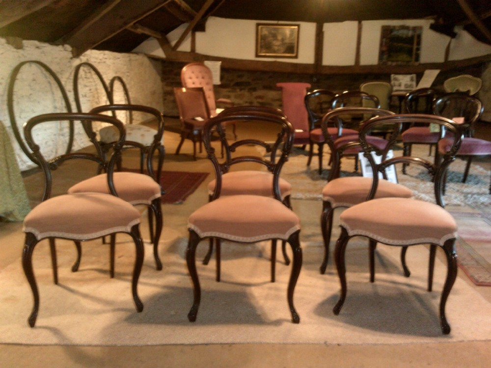 set of six victorian rosewood balloonback dining chairs