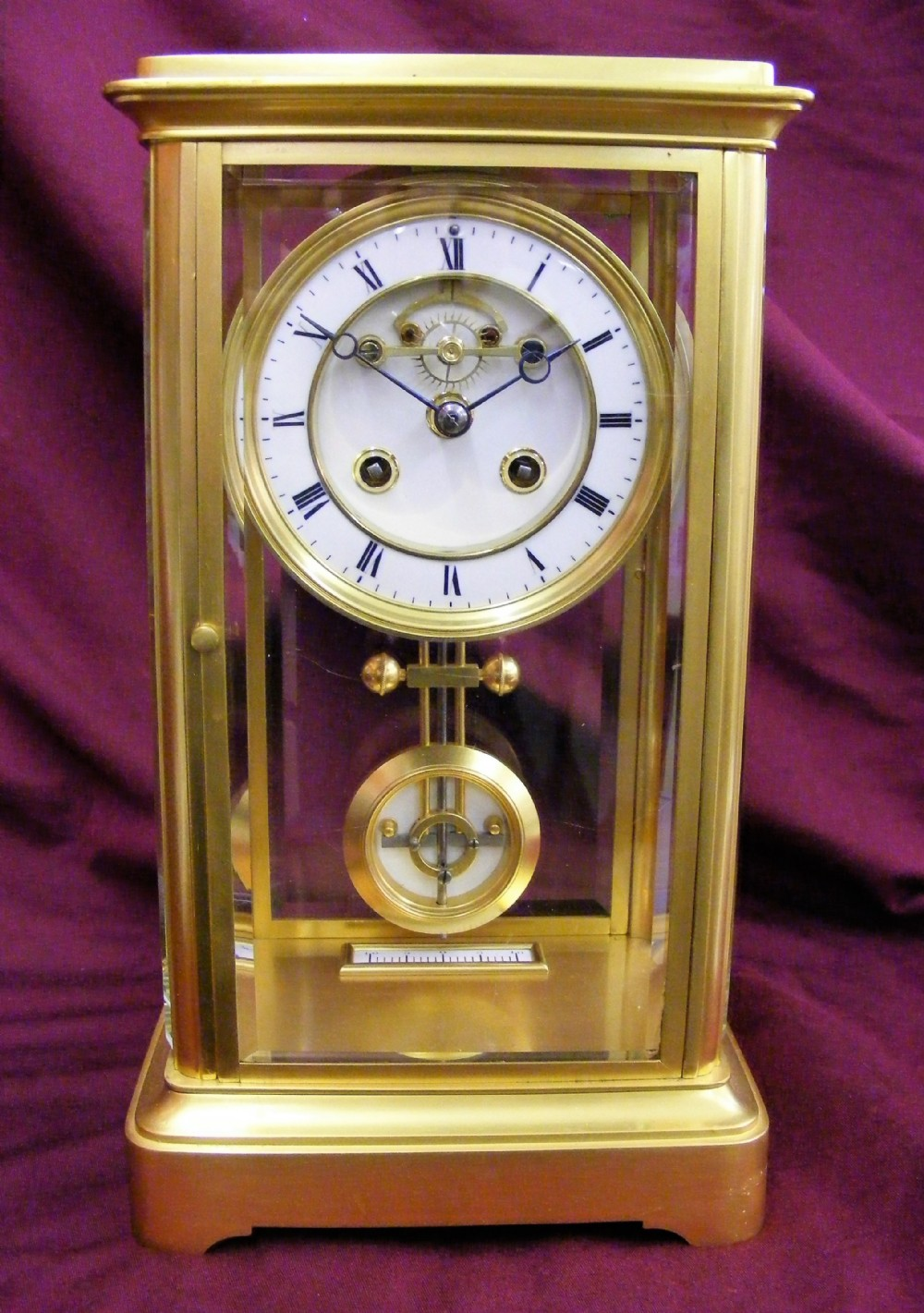 french four glass 8 day striking clock with ellicott compensated pendulum c1880