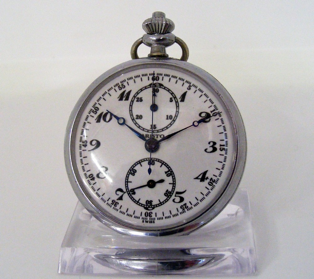 rare aristo us military type e splitseconds chronographstopwatch pocket watch with minute register valjoux calibre 61
