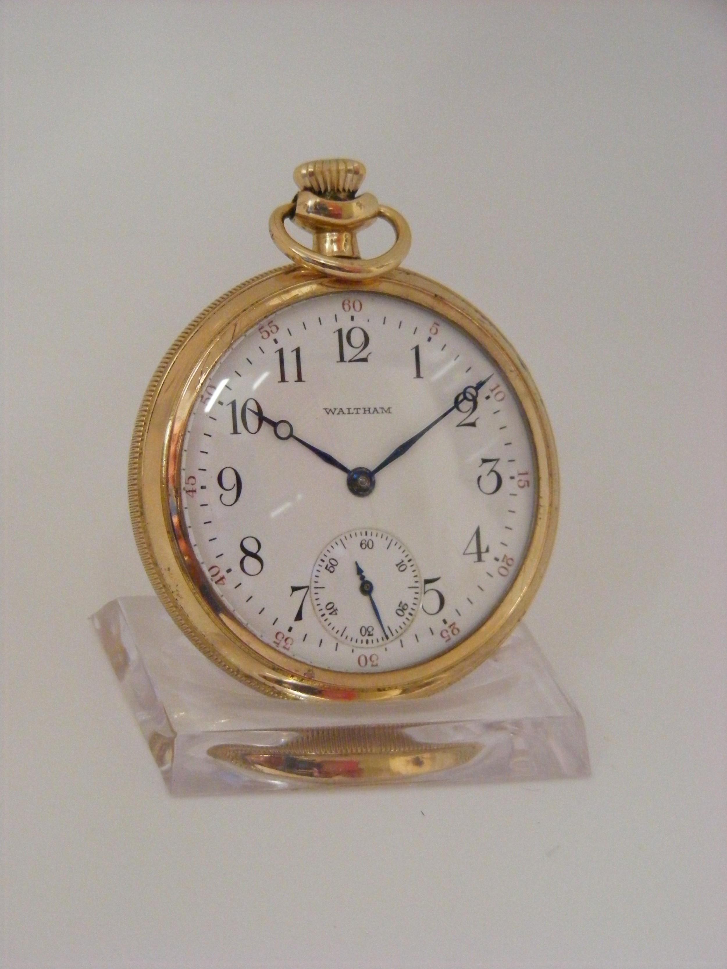 waltham 15j open face pocket watch serviced warranted