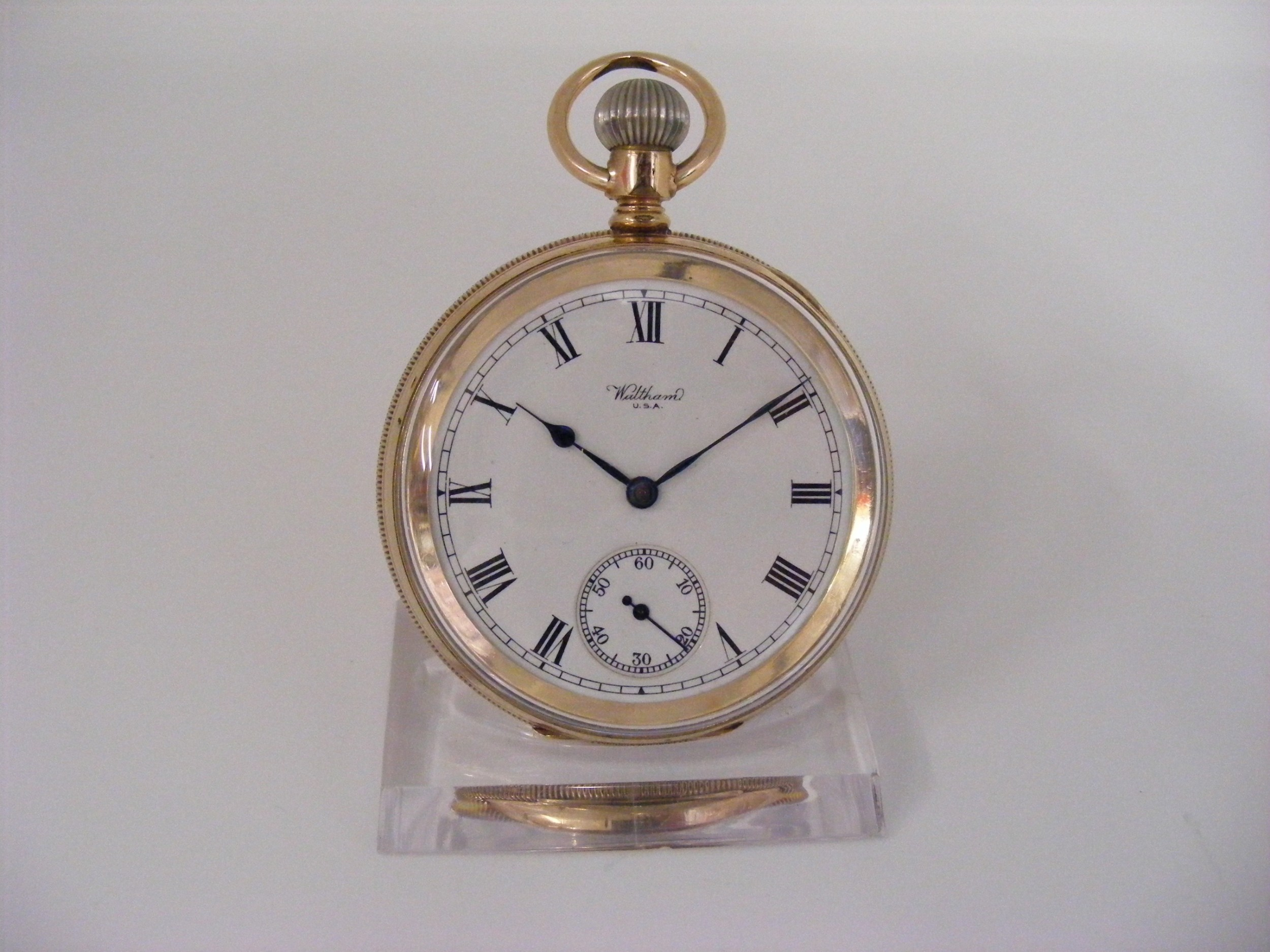 waltham gold plated open face pocket watch serviced warranted