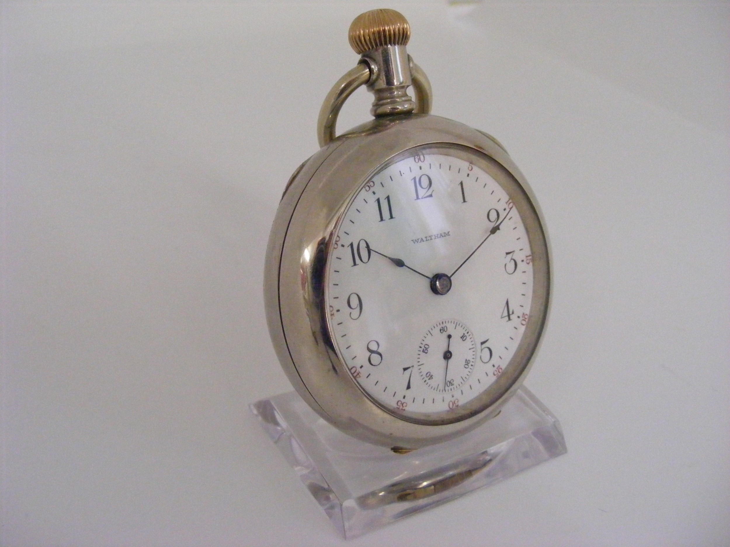 nice chunky waltham nickel cased open face pocket watch serviced warranted