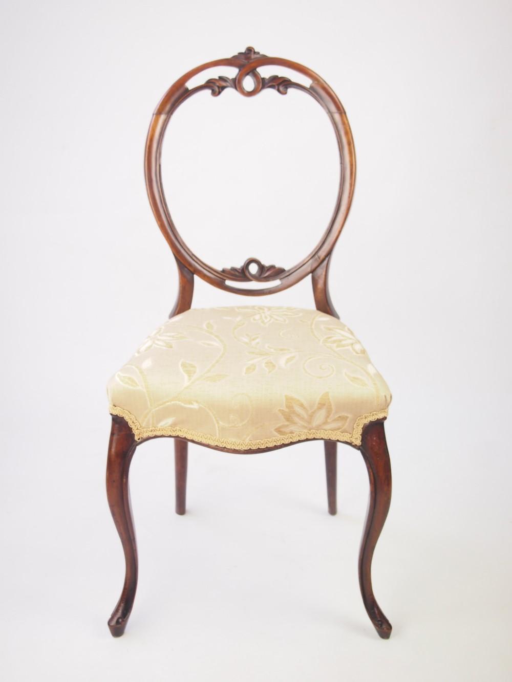 Antique Victorian Walnut Balloon Back Chair 278118
