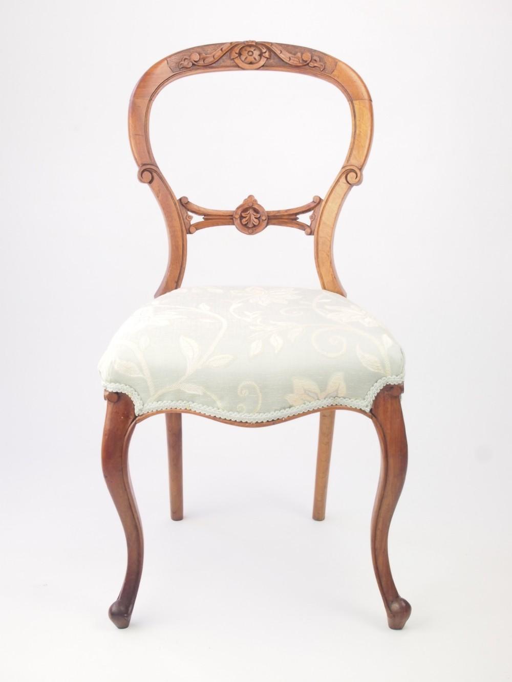 Antique Victorian Walnut Balloon Back Chair 286166