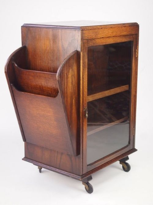 small vintage oak bookcase display cabinet & Small Vintage Oak Bookcase / Display Cabinet | 302944 ...
