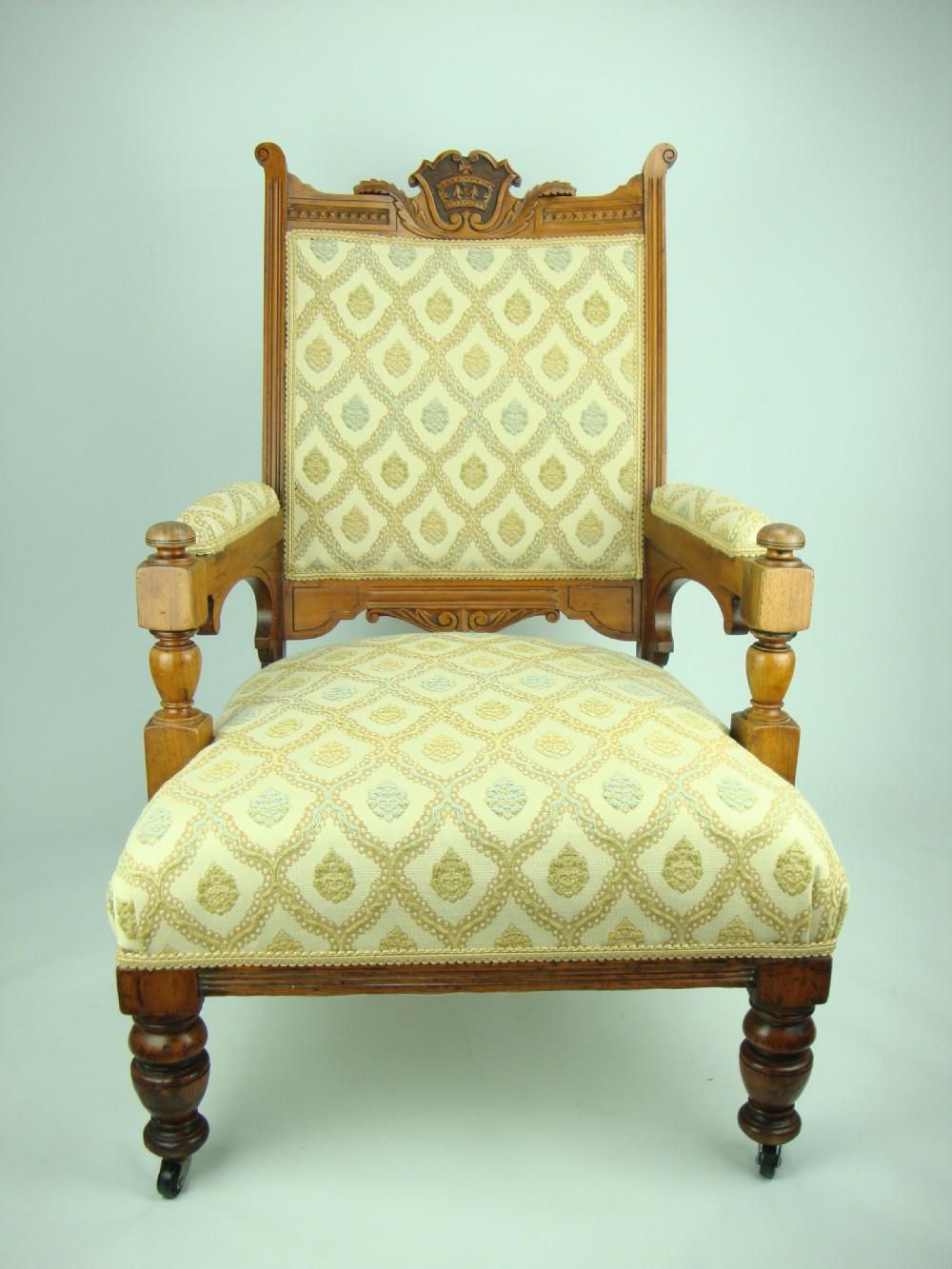 Antique Edwardian Walnut Gentlemans Armchair 234414