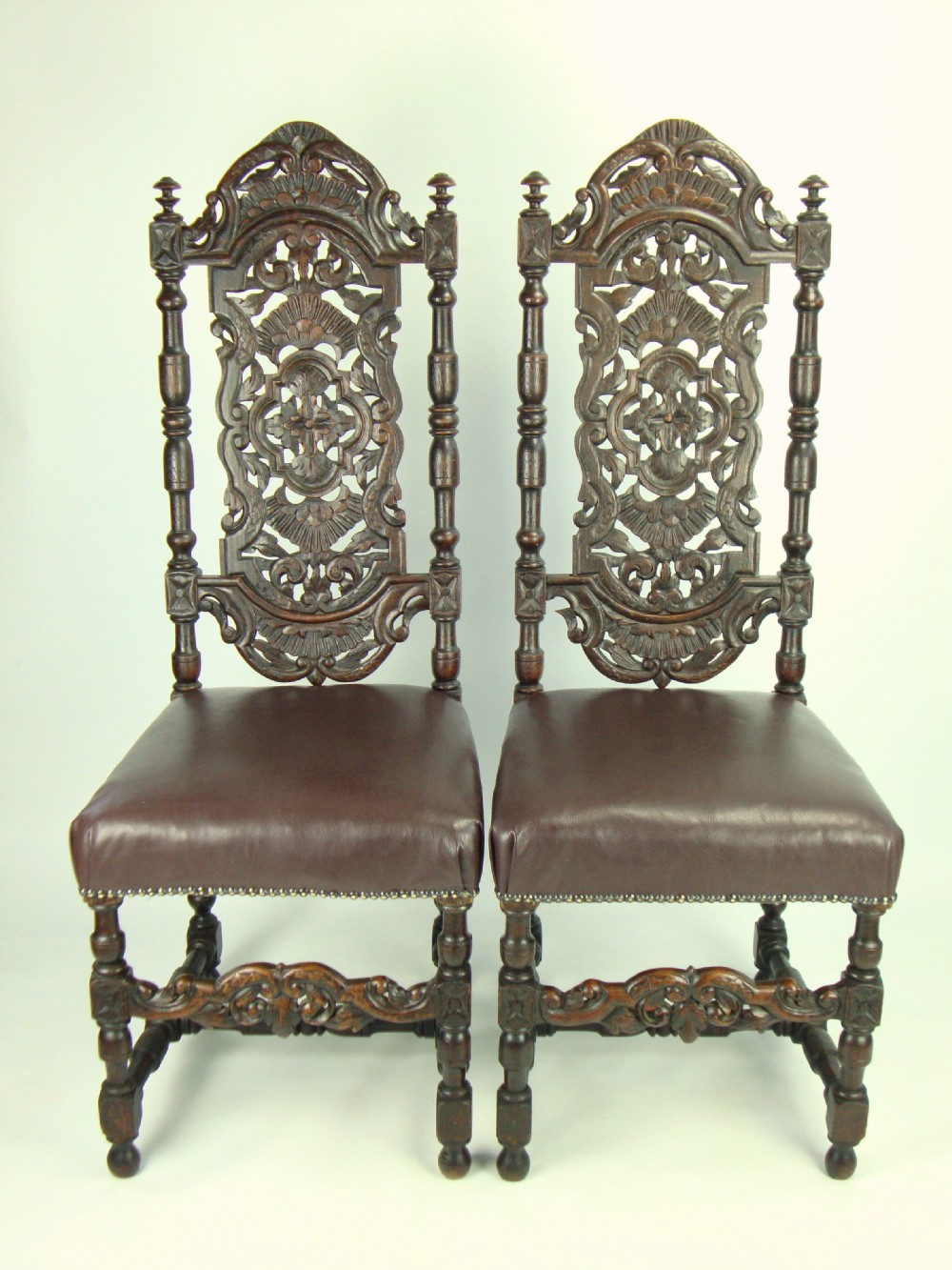 Gothic furniture chair - Pair Antique Victorian Gothic High Back Oak Chairs