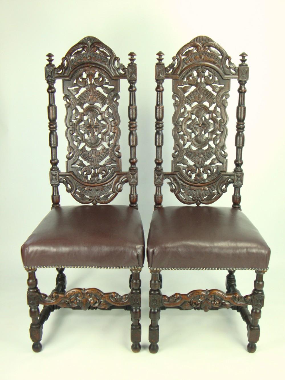 pair antique victorian gothic high back oak chairs - Pair Antique Victorian Gothic High Back Oak Chairs 252545