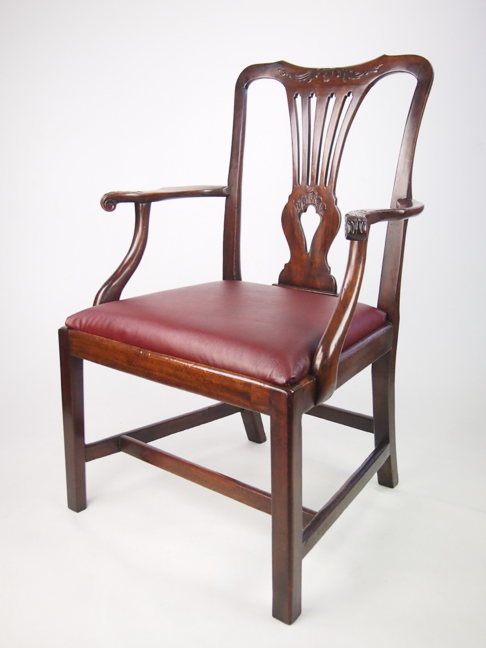 Antique George Iii Desk Chair With Leather Seat