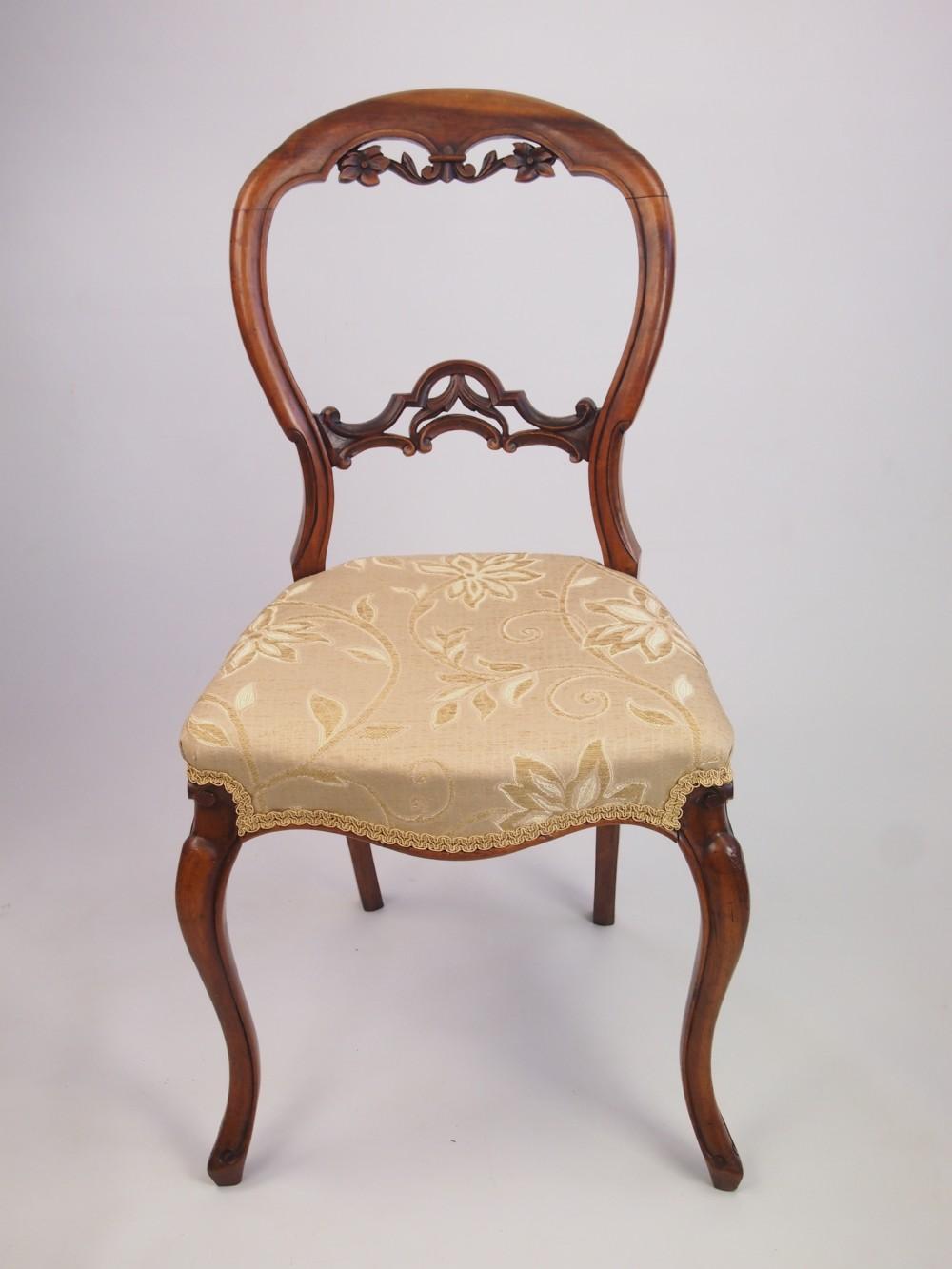 Antique Victorian Walnut Balloon Back Chair 263383