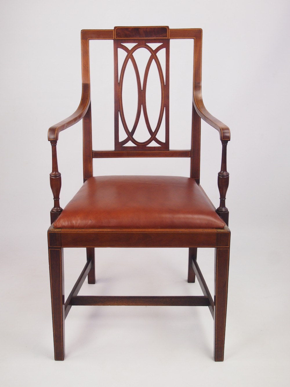 Antique Edwardian Desk Chair With Leather Seat
