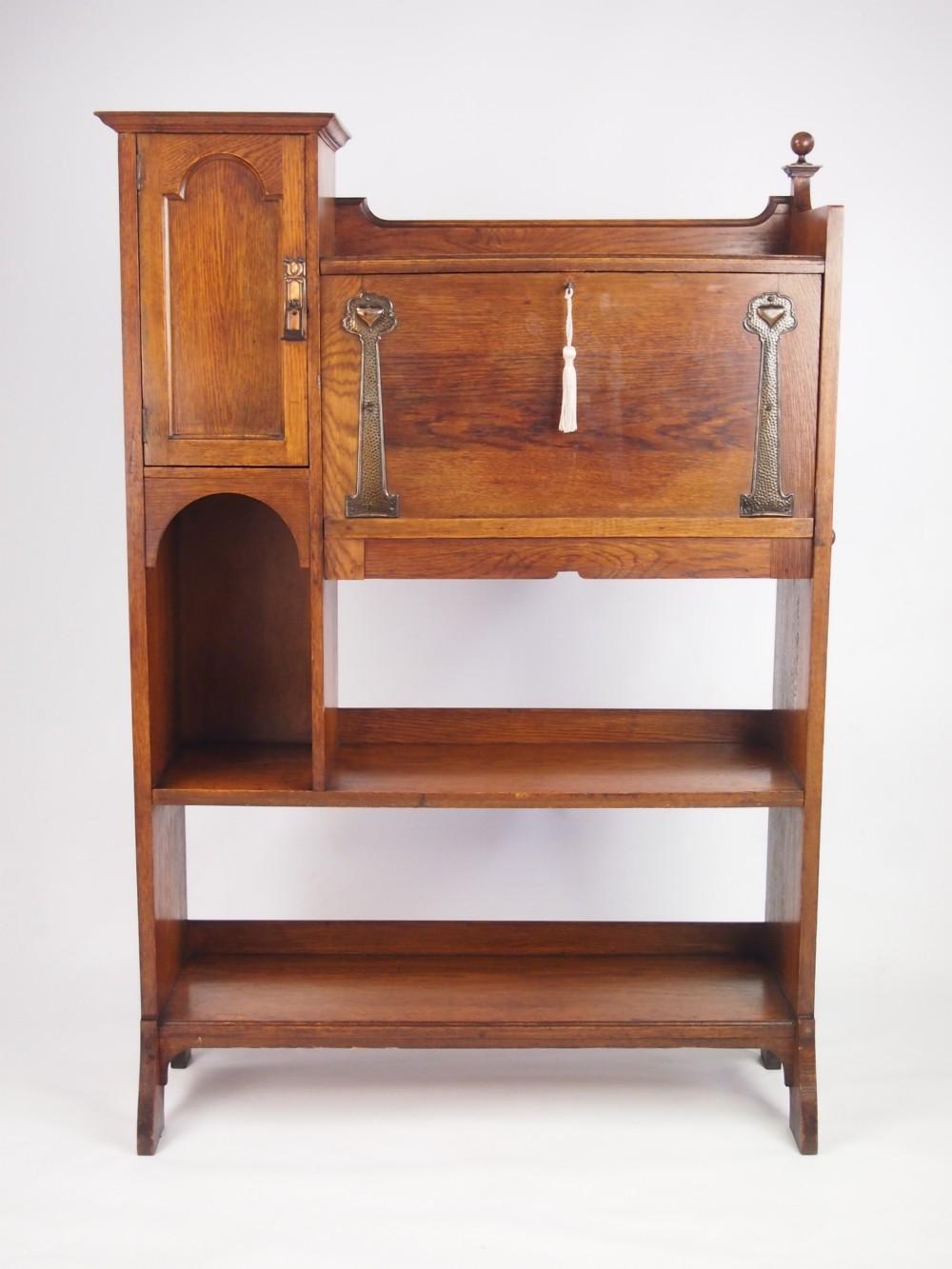 antique arts and crafts oak hall bureau bookcase 267727. Black Bedroom Furniture Sets. Home Design Ideas