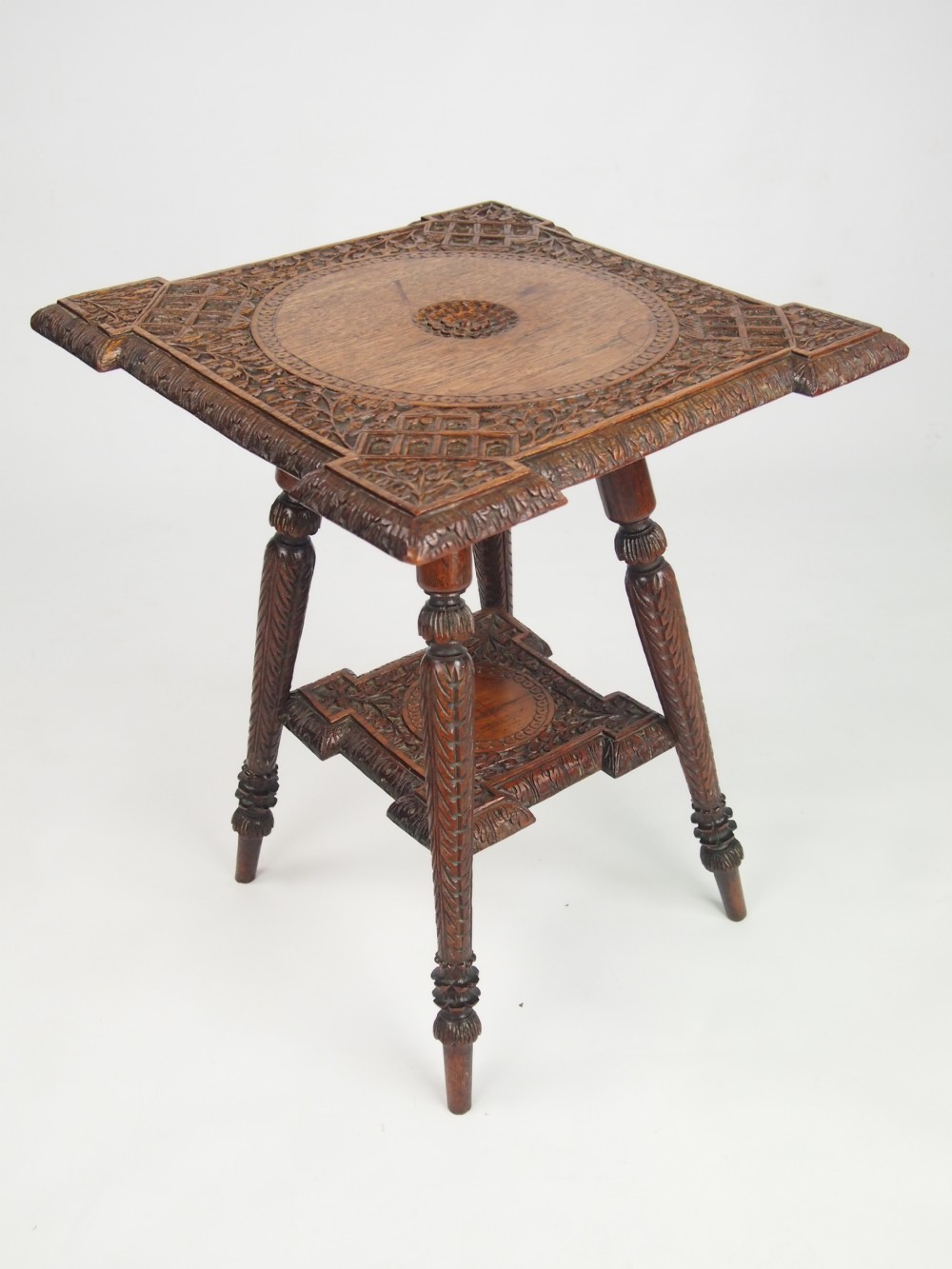 Small Antique Indian Occasional Table With Label
