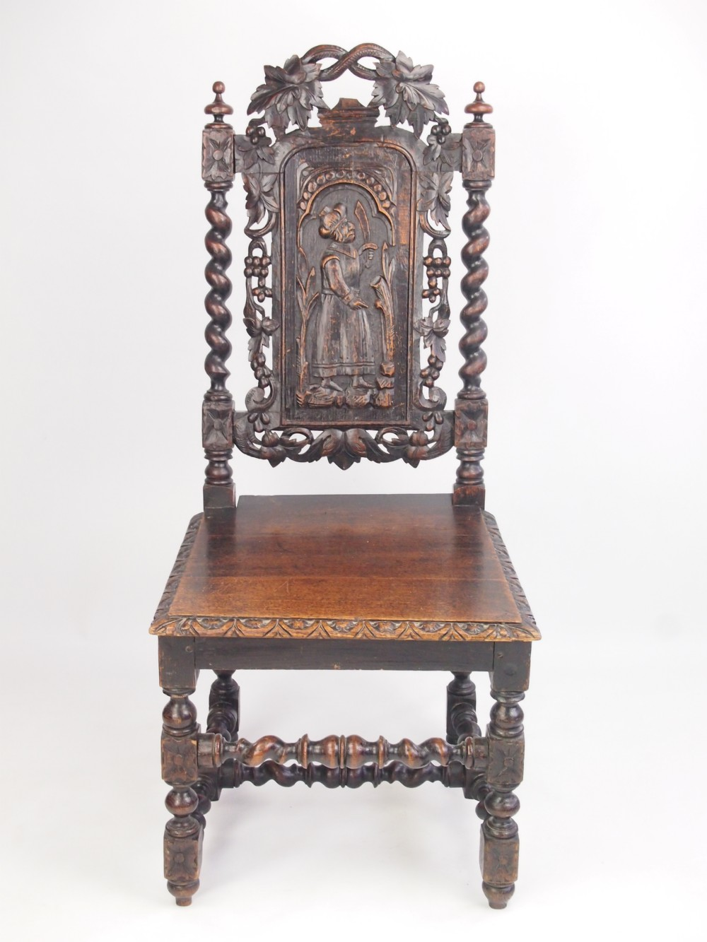 Antique Victorian Carved Oak Gothic Chair Hall Or Desk