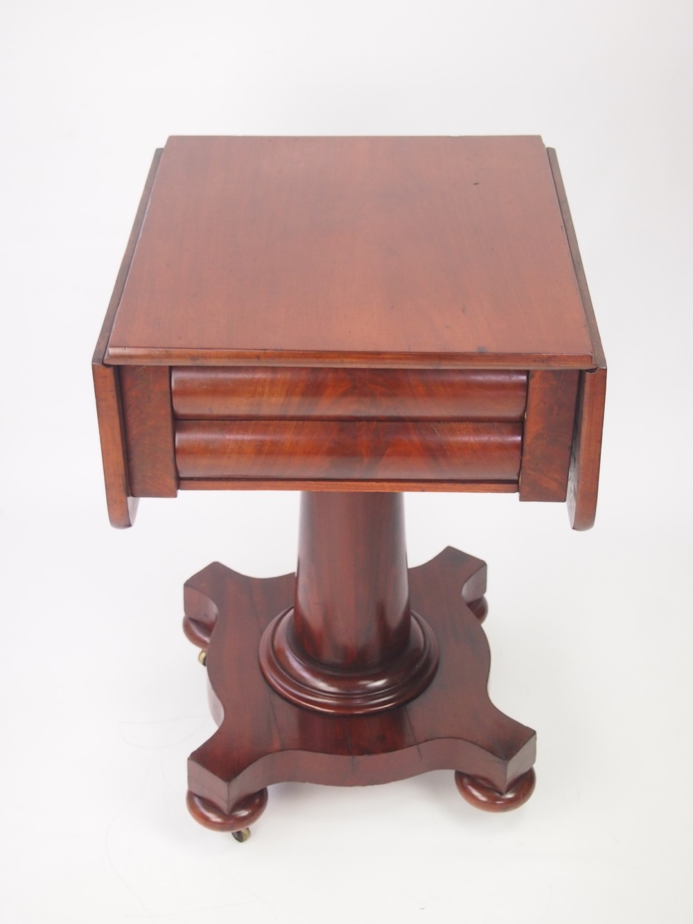 Antique William Ivearly Victorian Drop Leaf Sewing Table With Drawers