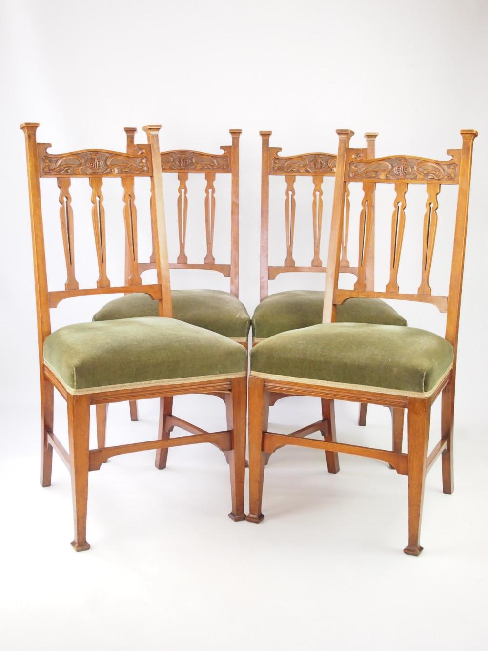 Antique Set 4 Golden Oak Dining Chairs 285389