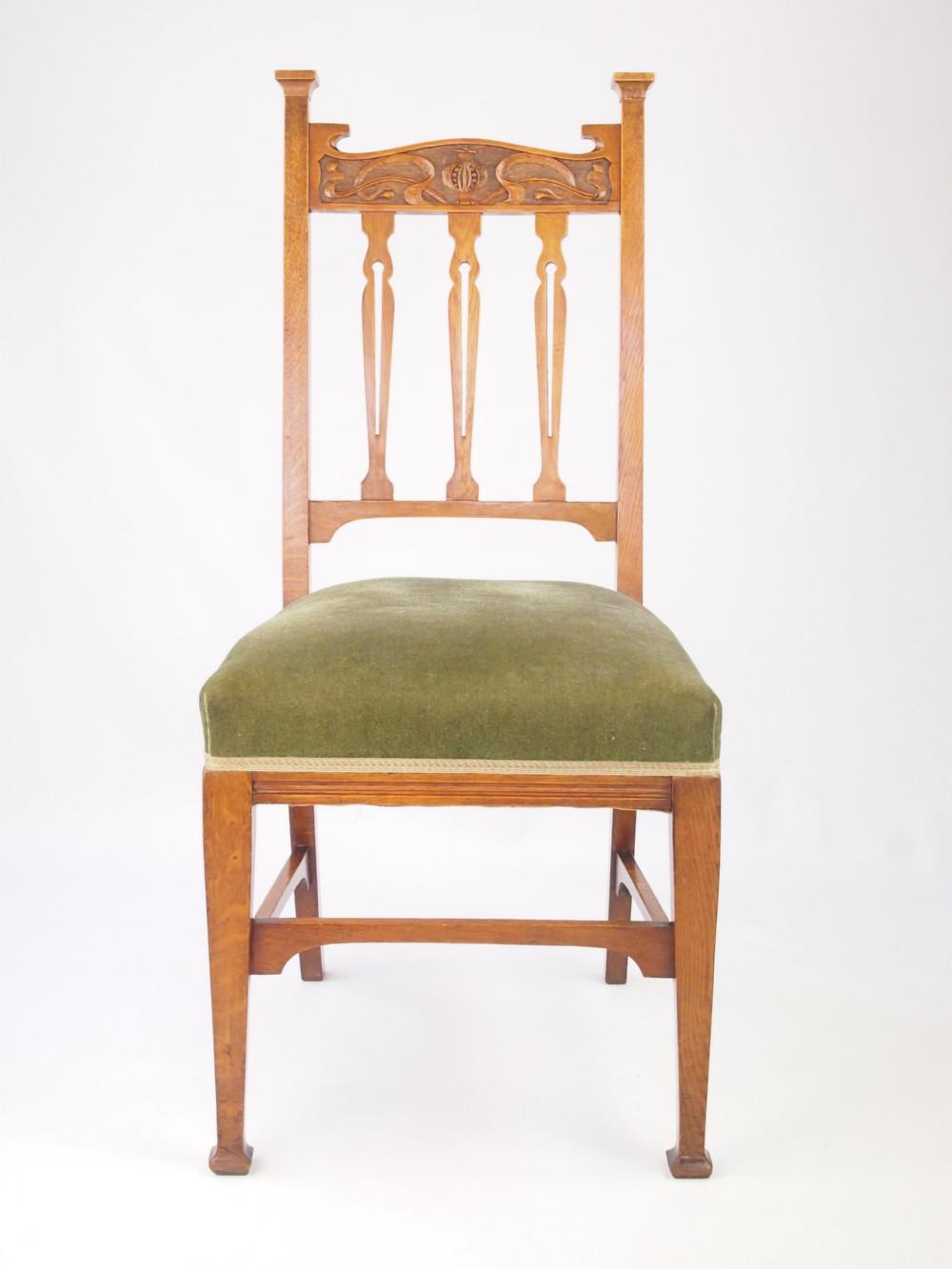 Antique Set 4 Golden Oak Dining Chairs   285389 ...