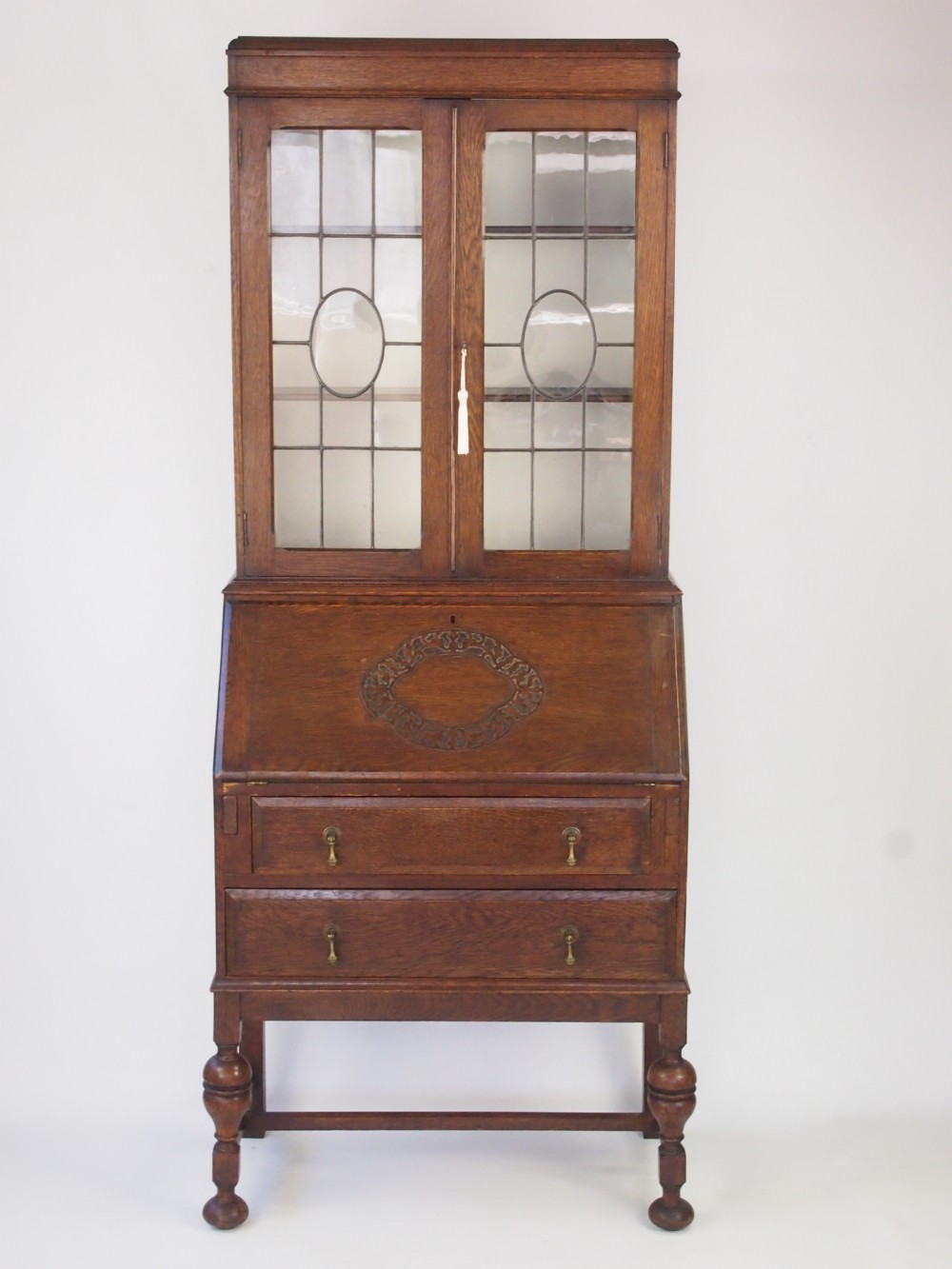 Vintage Oak Bureau Bookcase Writing Desk 286164