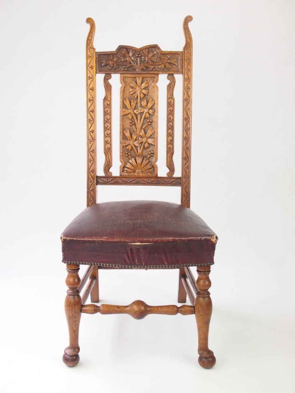 High back antique chairs - Antique Carved Oak High Back Chair Hall Chair