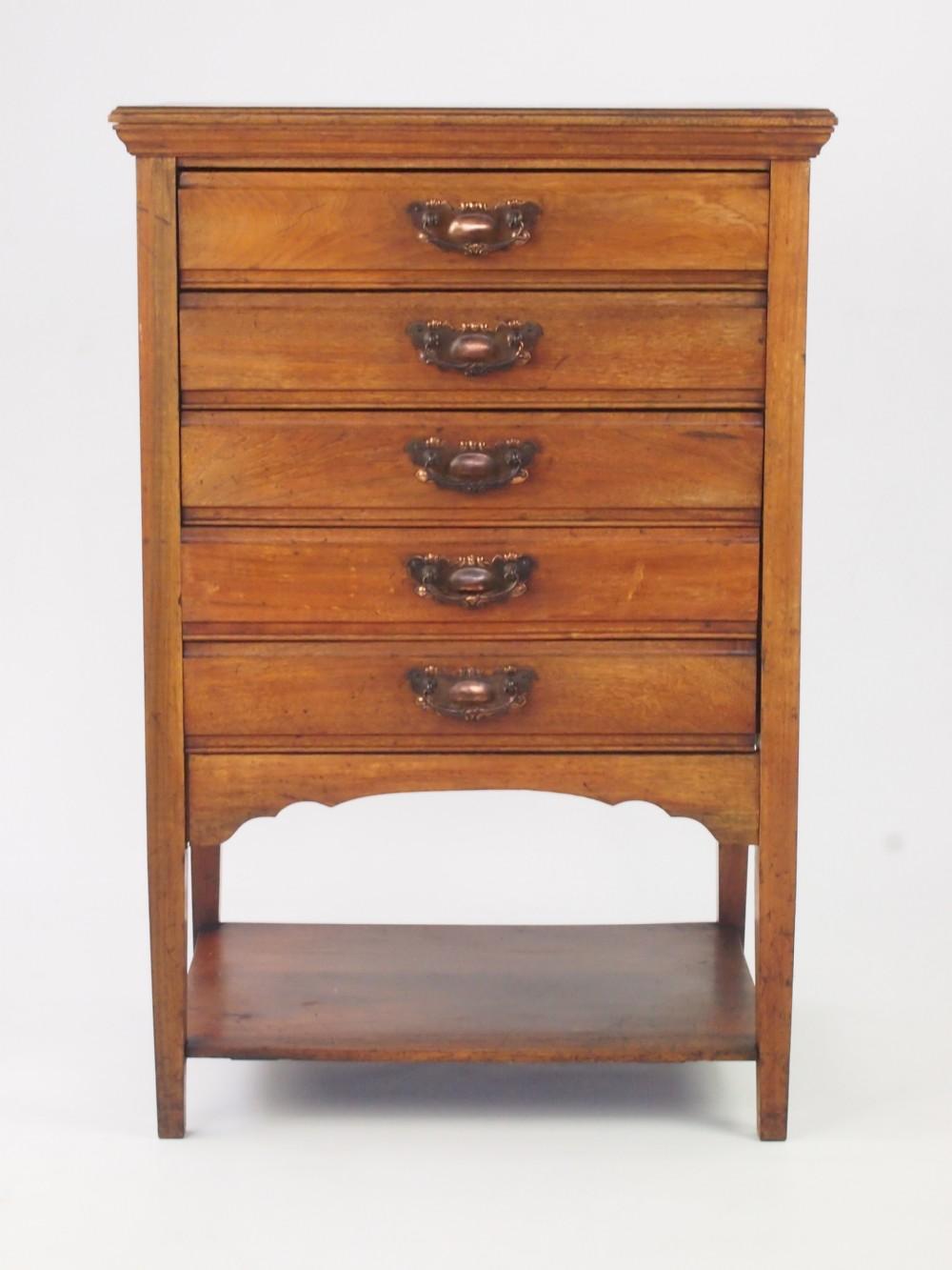 Small Antique Edwardian Walnut Music Cabinet Chest Drawers