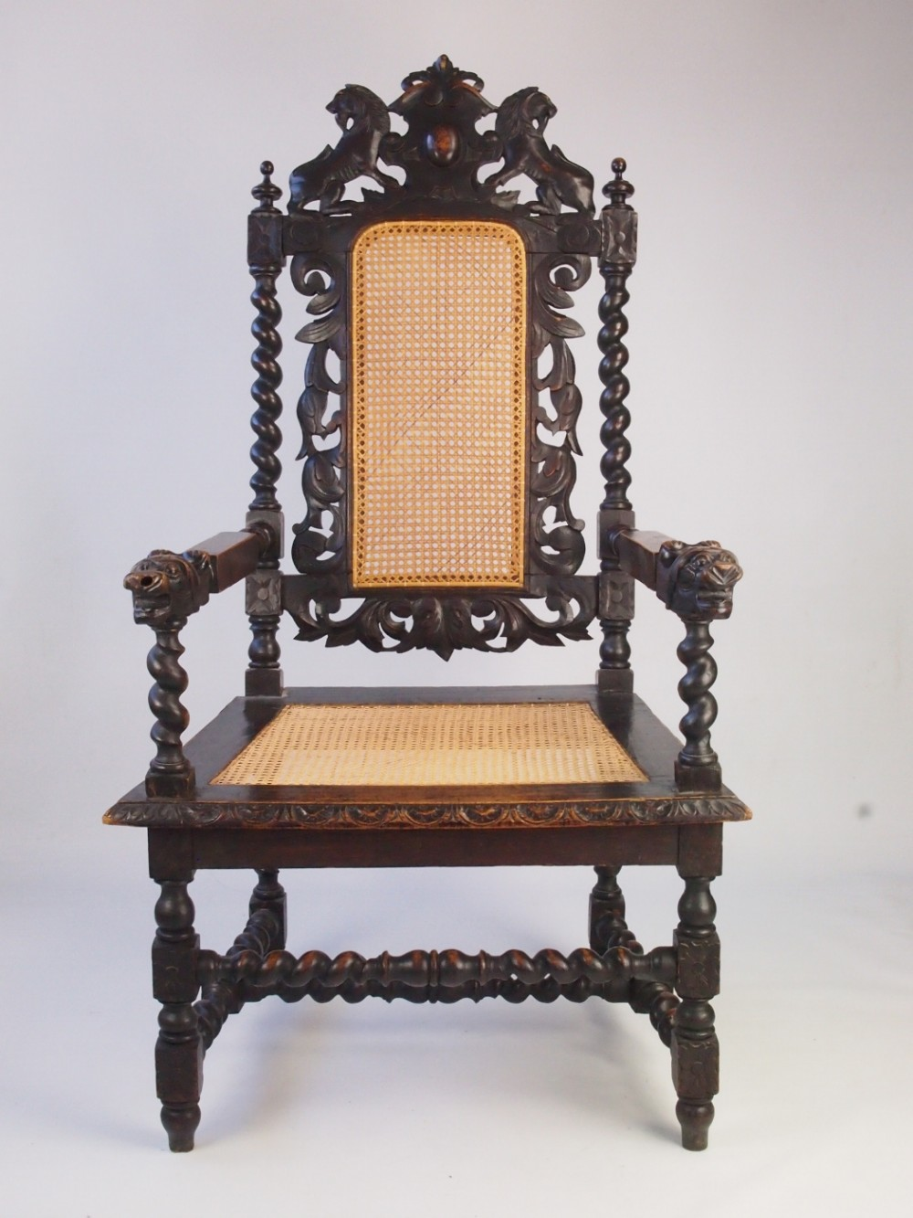 large antique victorian gothic revival throne chair - Large Antique Victorian Gothic Revival Throne Chair 313965