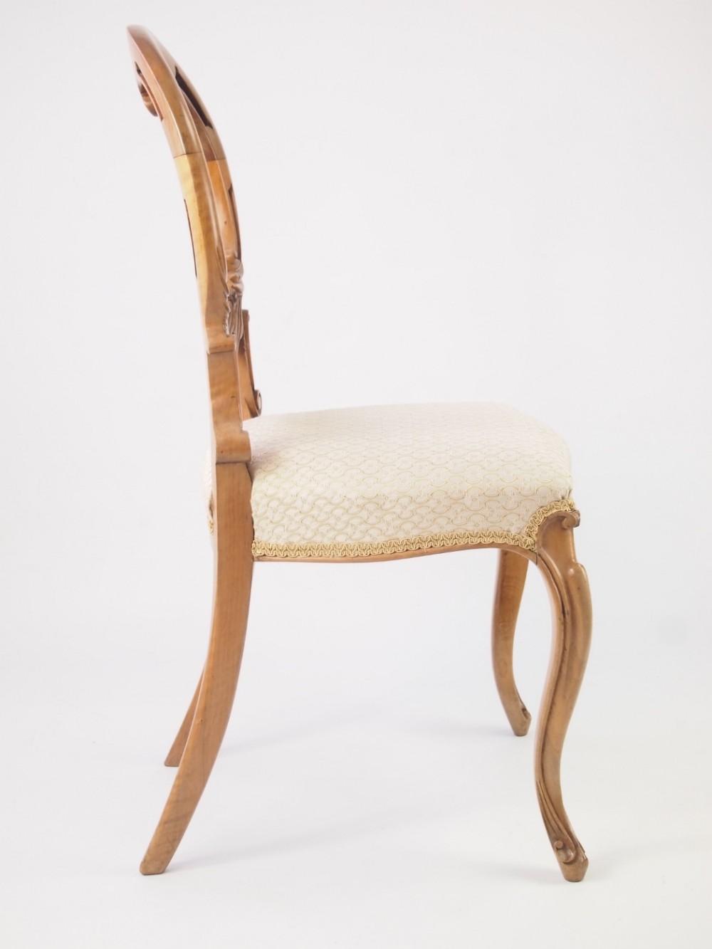 Antique Victorian Walnut Balloon Back Chair 327609
